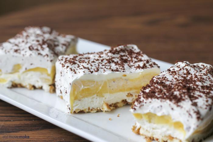 white tray holding banana pudding squares