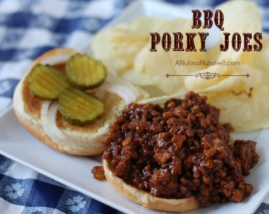 BBQ Porky Joes on plate with potato chips
