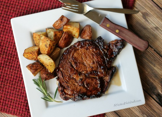 Grilled Marinated Ribeye Steaks with Rosemary Potatoes