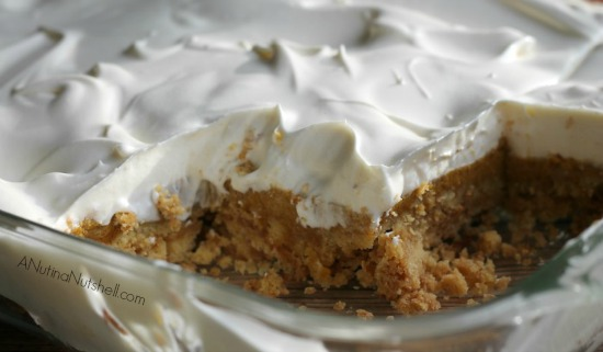 pumpkin dump cake cut in baking pan