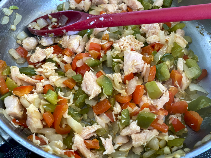 chicken and vegetables in pan