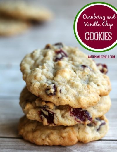 A close up of cranberry vanilla chip cookies