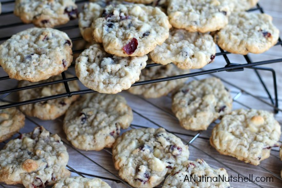 cranberry vanilla chip cookies on cooling rack