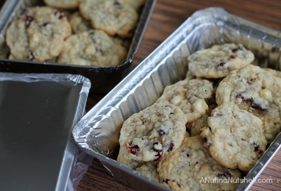 cranberry white chip cookies in tin