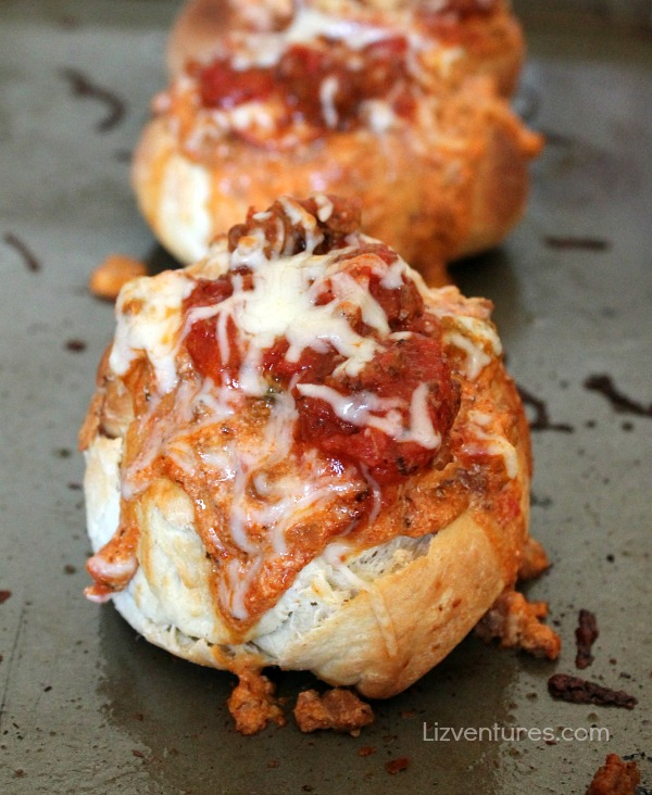 pizza bread bowls on baking sheet