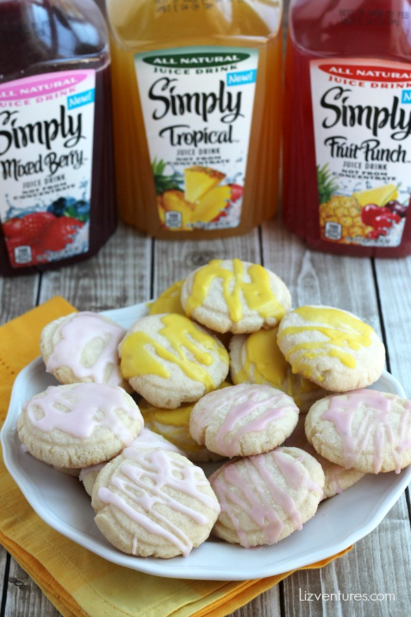 sugar cookies with fruit juice glazed icing