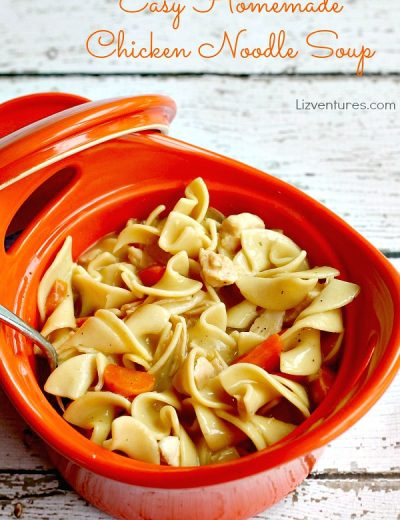 chicken noodle soup in orange crock