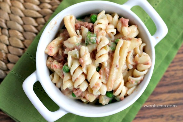 corned beef and noodles casserole in serving dish