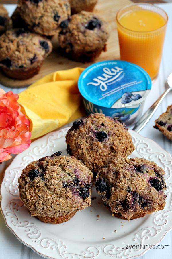 blueberry breakfast muffins made with Yulu yogurt