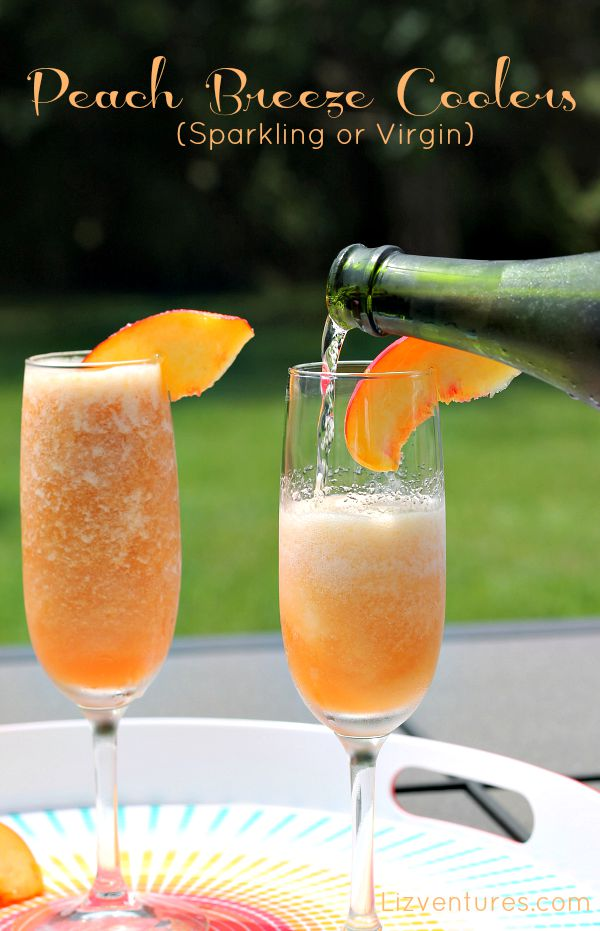 Peach Breeze Coolers being poured into glass
