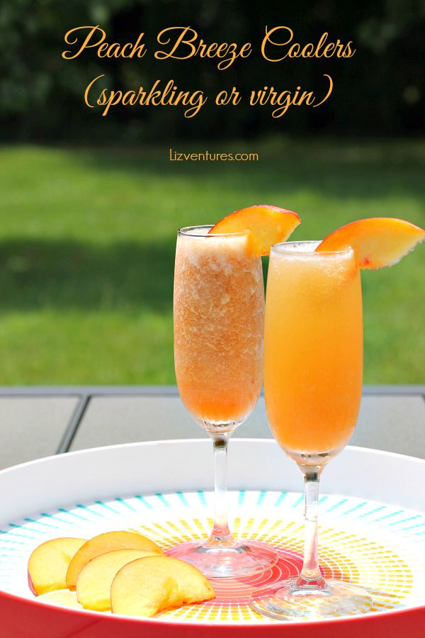 Peach Breeze Coolers - sparkling cocktail or virgin cocktail on tray