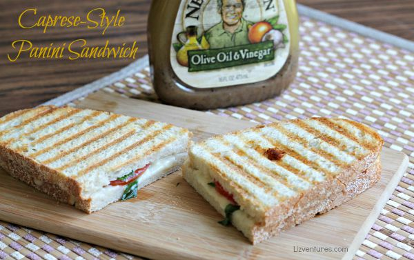 Caprese-Style Panini Sandwich with olive oil and vinegar