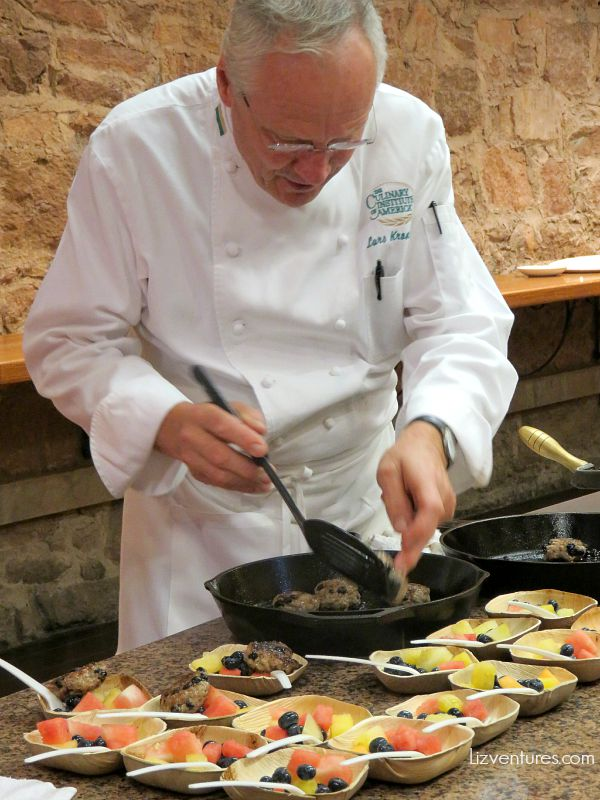 Chef Lars Kronmark making blueberry sausage