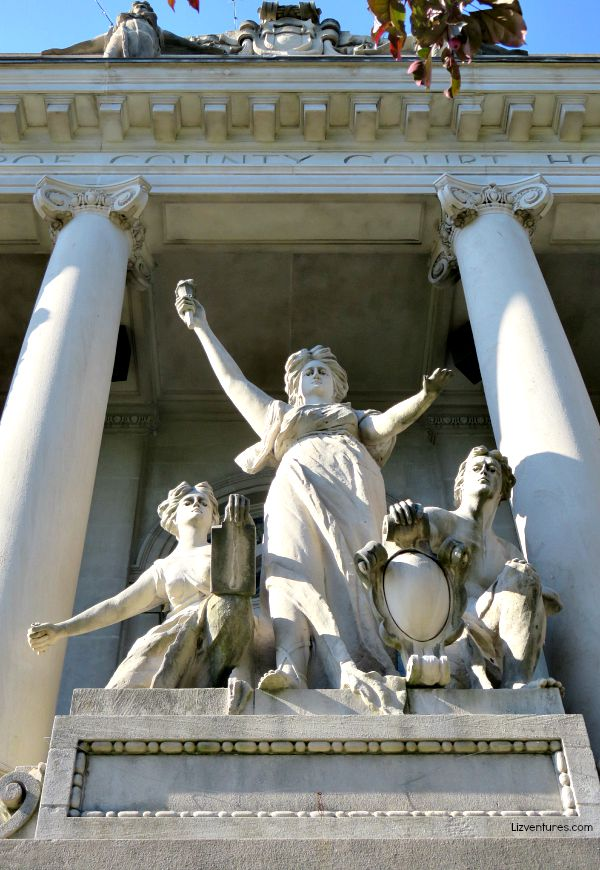 Monroe County Courthouse sculptures - Bloomington Indiana