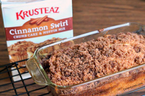 Krusteaz Cinnamon Swirl crumb cake muffin mix baked in loaf pan