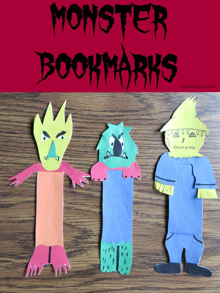 Monster Bookmarks - Goosebumps movie crafts for kids