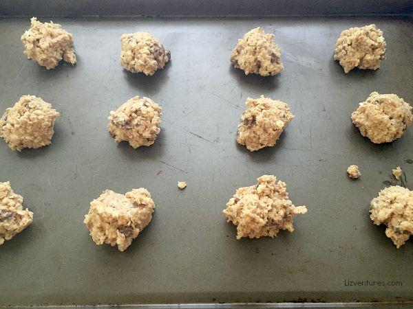 Nestle Crunch oatmeal cookies on baking sheet