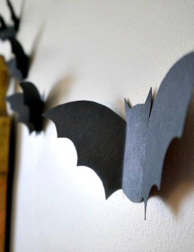 Halloween bat flock side view