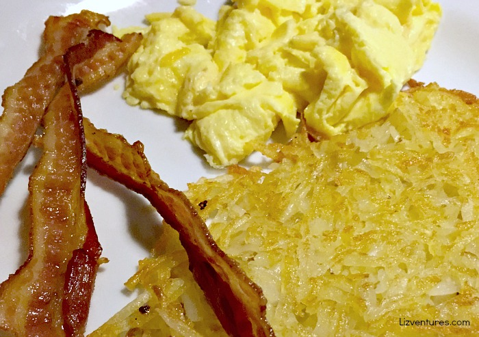 Denny's sides - bacon, eggs and hash browns