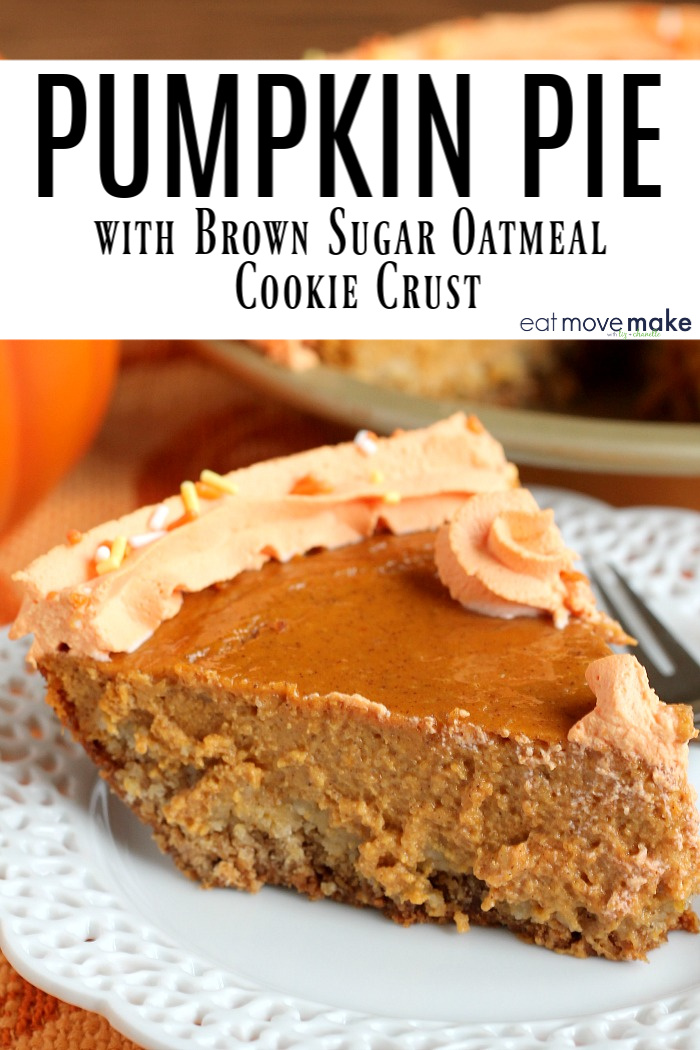 pumpkin pie with brown sugar oatmeal cookie crust on plate
