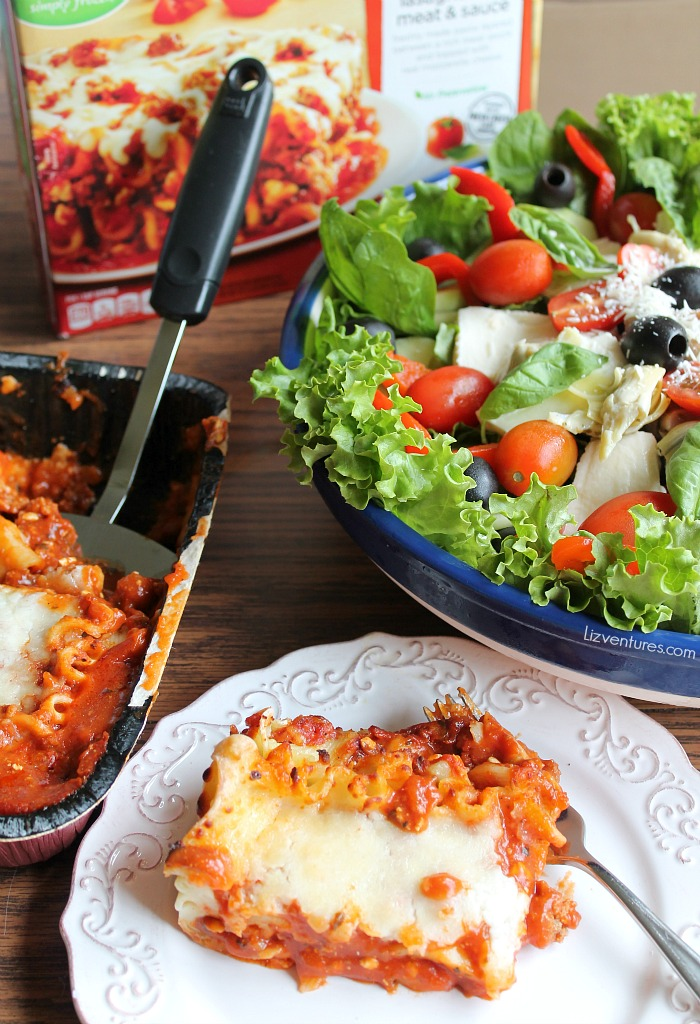 fresh Italian salad with frozen prepared meal