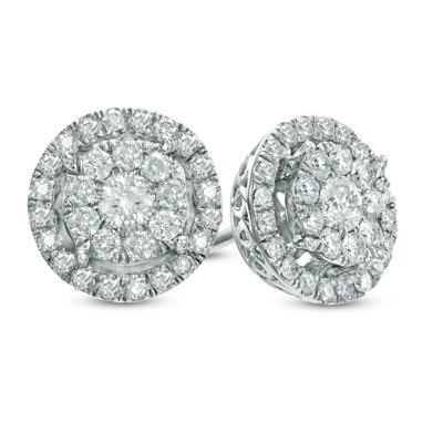 1/2 ct double frame 10K white gold earrings