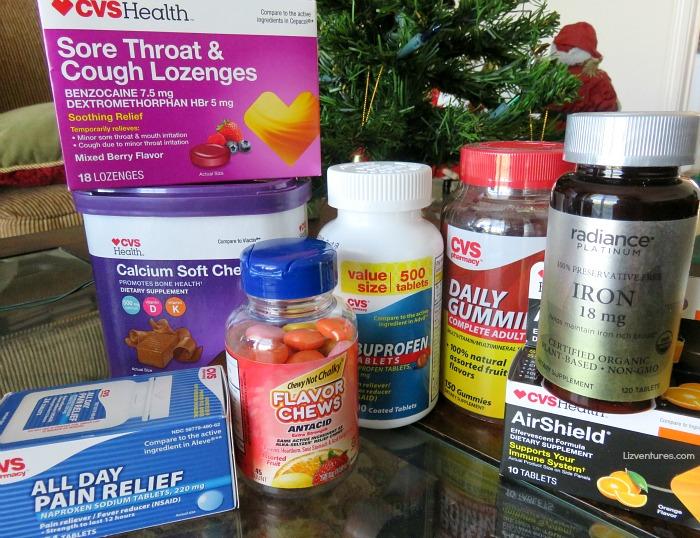 CVS vitamins, minerals, cold relief, pain relief