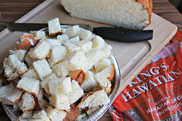 King's Hawaiian sweet round bread - cubed