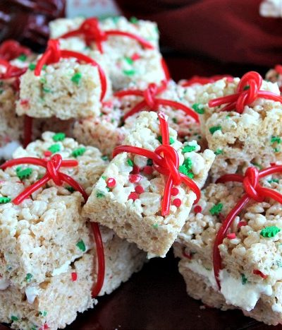 A close up of Christmas rice krispies