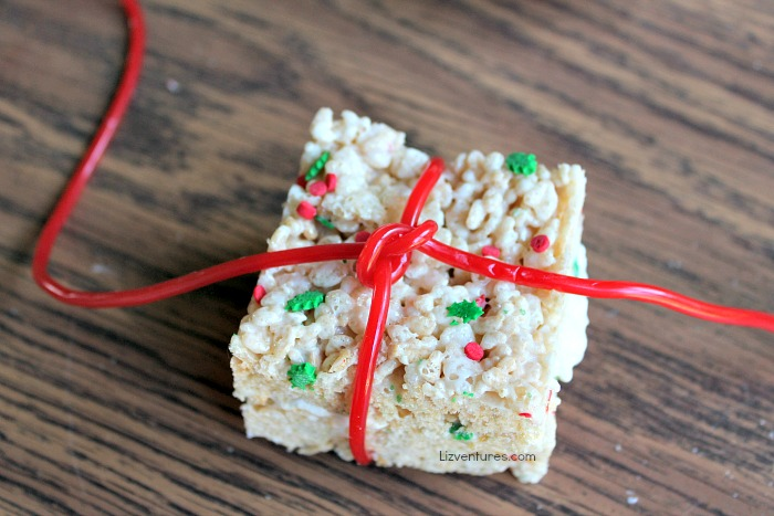 rice krispies treats tied with licorice string bow