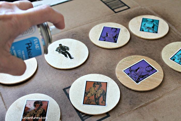 spray acrylic sealant on game pieces