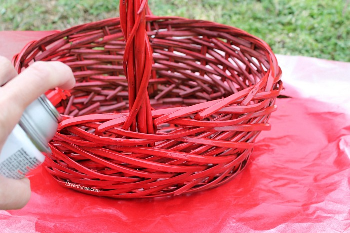 make a valentine's day basket - spray paint a wood basket red