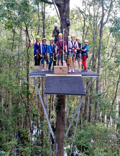 A group of people at a zipline station