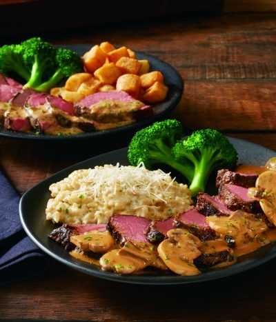 A plate full of food sitting on top of a wooden table, with Steak