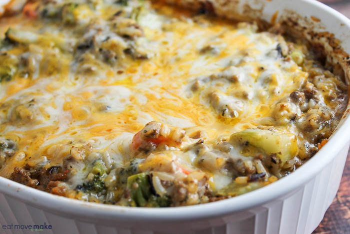 beef and wild rice casserole in baking dish