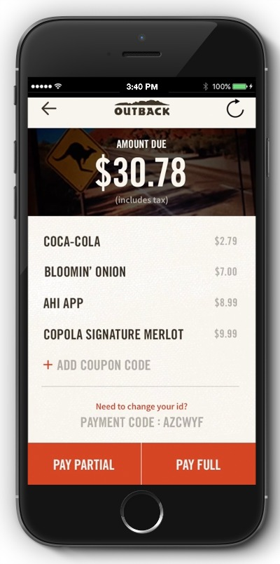 Outback Steakhouse App pay screen