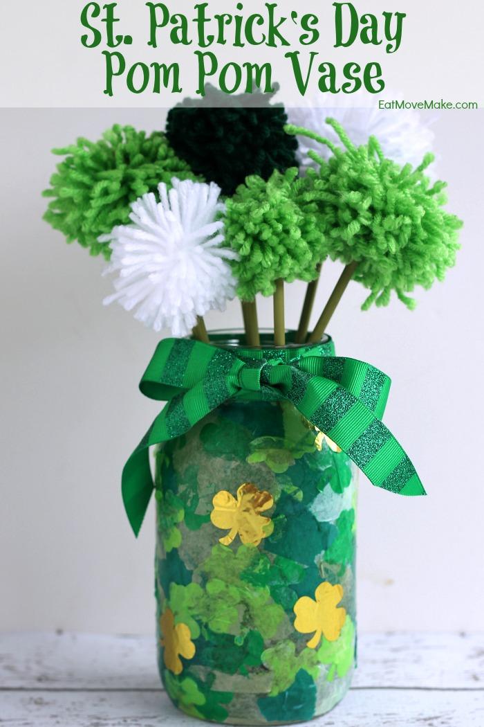 St. Patrick's Day Pom Pom Vase