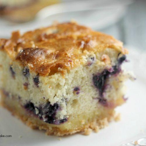 blueberry lemon cake on plate