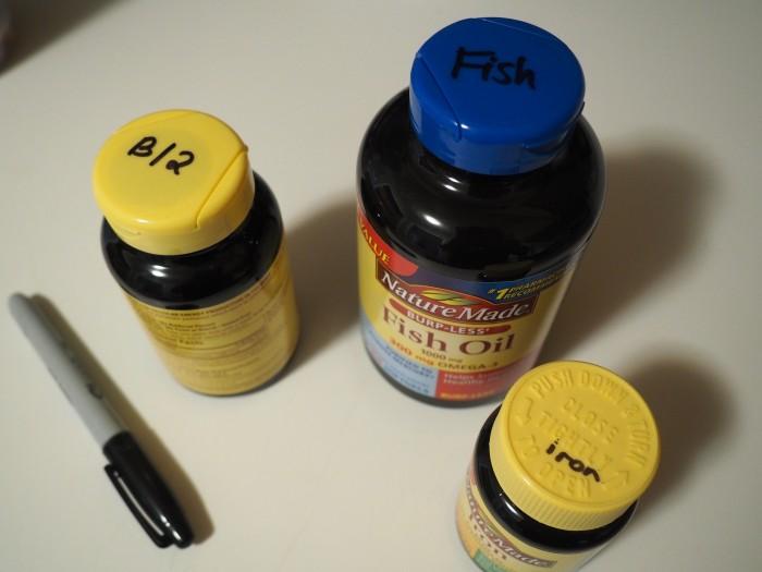 Nature Made fish oil, iron, B12