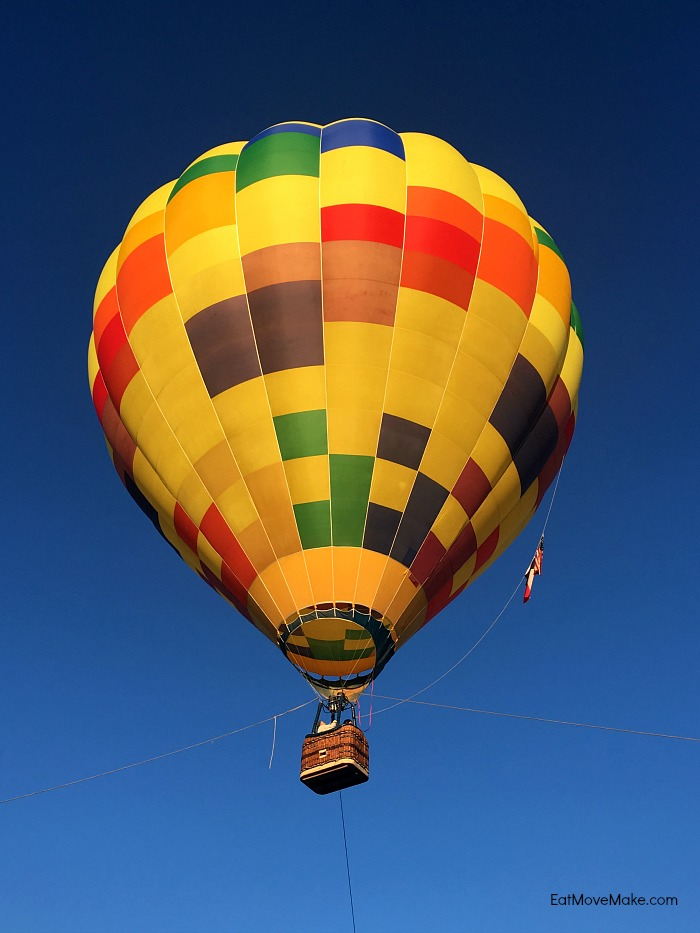 A colorful hot air balloon in the sky