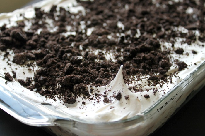 OREO Pudding Cake dessert in glass baking dish