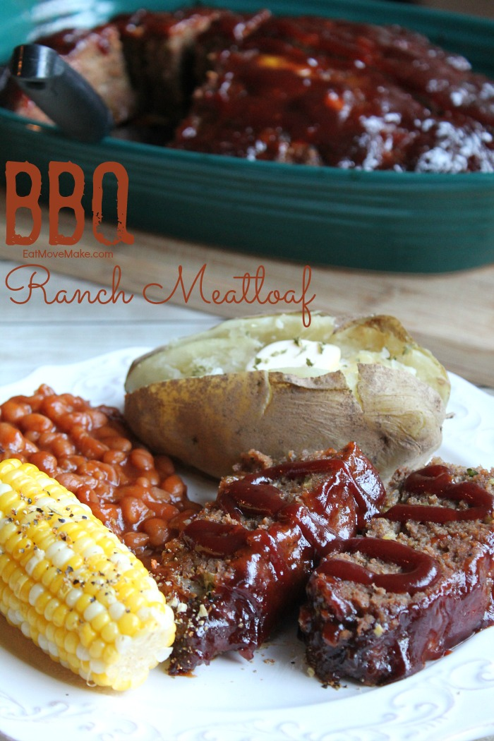 BBQ Ranch Meatloaf on plate and in baking dish