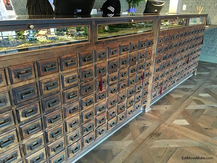 Graduate Hotel Charlottesville card catalog desk
