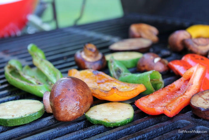 veggies cooking on grill