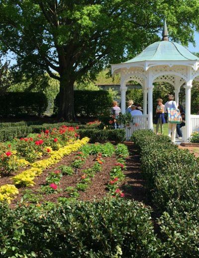 flower garden and gazebo