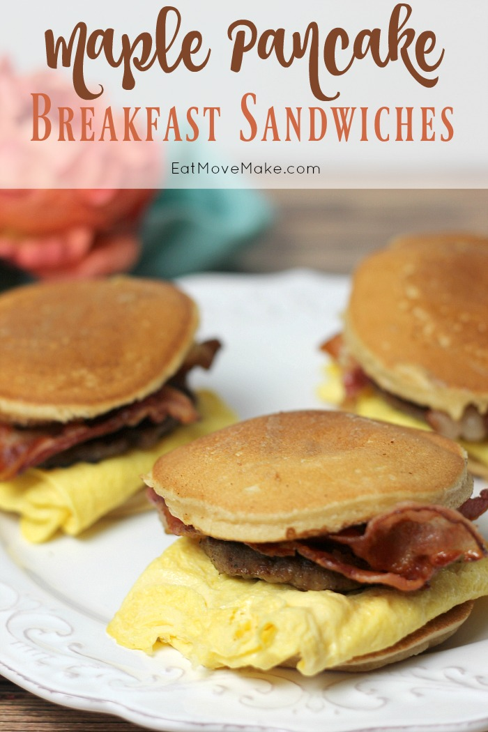 A breakfast sandwich on a plate, with Pancake breakfast