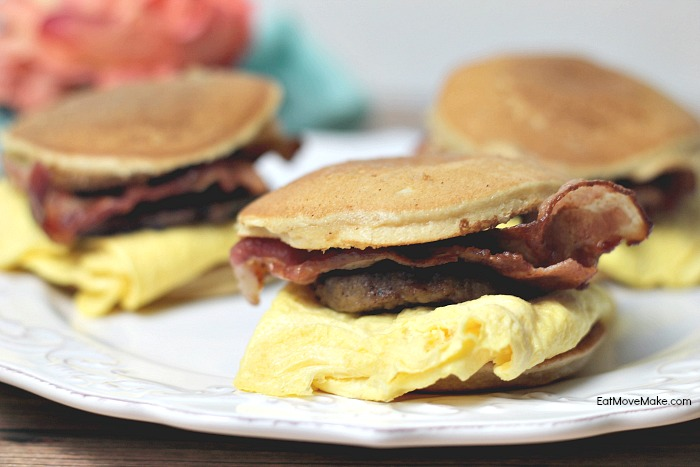 maple pancake breakfast sandwiches on plate