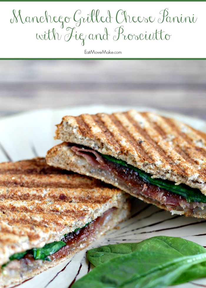 Manchego Grilled Cheese Panini with Fig and Prosciutto on plate