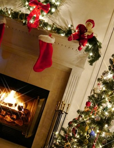 A fire place sitting in a living room with a christmas tree