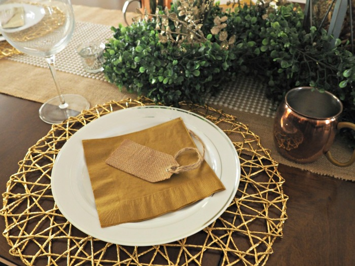 Rustic Glam Christmas Tablescape gold charger and burlap placecard